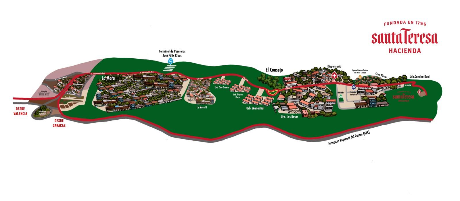 Mapa Hacienda Santa Teresa - Como llegar